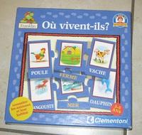 """jeu d'association """"où vivent-ils?"""" clementoni, 3 euros"""