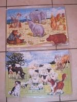 lot de 2 puzzles cartonnés 70 pièces, 2 euros