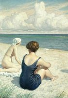 Women on the beach in Falsterbo, Paul-Gustave Fische