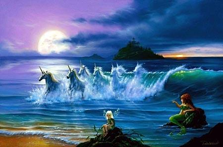 chevaux dans océan