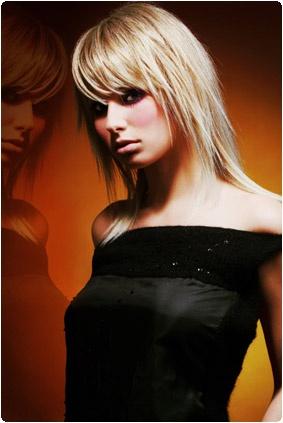 cheveux longs dégradé avec frange
