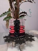 Cache-pot rouge noir et argent