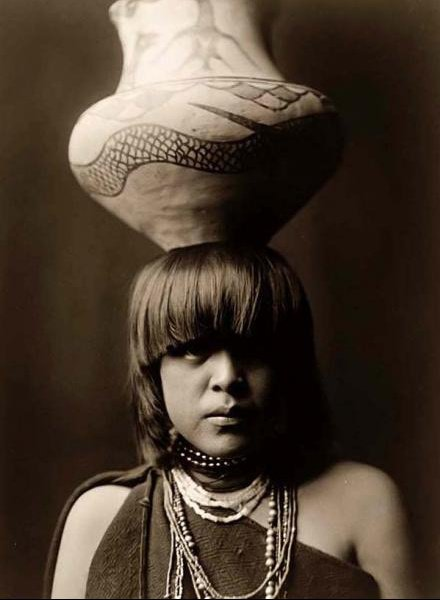 San Ildefonso indian girl with a jar on her head-1927 by Edward S.Curtis