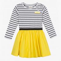 robe-bimatiere-maille-rayee-et-popeline-jaune