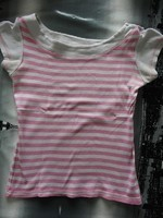 haut a rayures blanc & rose T38/40 BE 2€