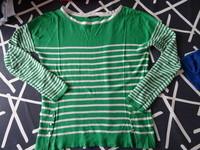 pull léger été PROMOD col rond vert a rayures blanches & liseret argentés ttbe taille 38/40 9€
