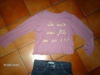 """18 HAUT rose """"je suis une fille en or"""" 2e taille 8ans"""