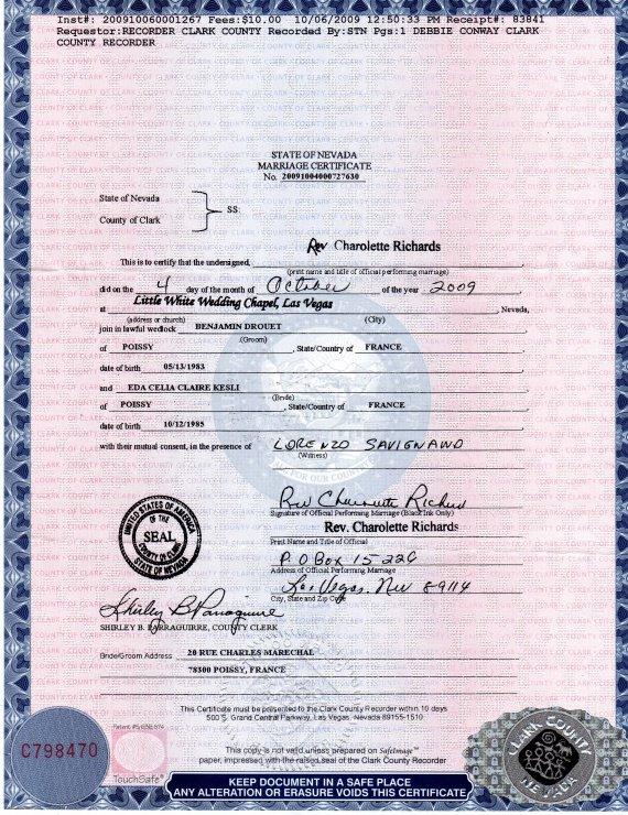 notre certificat de mariage officiel notre mariage las vegas le 4 octobre 2009 cybertoxine. Black Bedroom Furniture Sets. Home Design Ideas