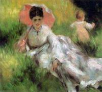 Femme à l'ombrelle et enfant dans un jardin (Renoir)