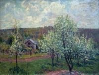 Printemps aux environs de Paris, pommiers en fleurs (Sisley)