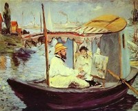 Monet peignant sur son bateau (Manet)