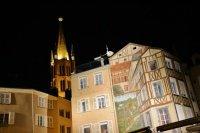 Le trompe-l'oeil de la place de la Motte, et l'église Saint-Michel.