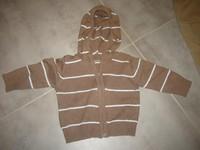 ( P 6 B) 2e - le joli gilet a capuche marron a rayures  - GRAIN DE BLE - 3 mois