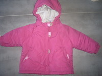 ( P 17  ) 5e - le manteau bien chaud avec capuche rose-fushia - DECATHLON - 1 an