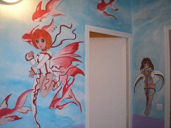 Chambre de mes filles dessin decoration chambre enfant angeladiablesse photos club - Dessin muurschildering chambre fille ...