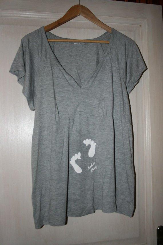 tee-shirt de grossesse ou l'allaitement gris chiné 48/50 ; 1 euros