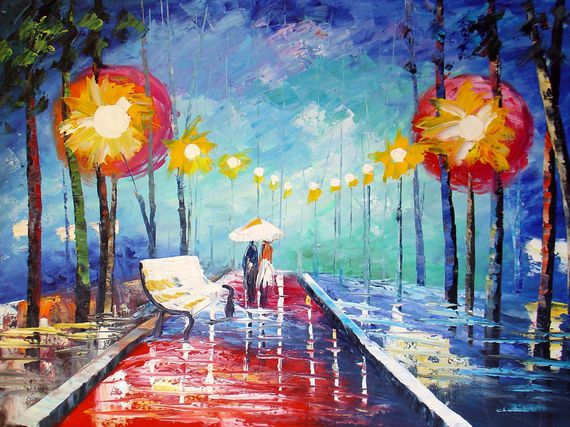 amoureux sous la pluie peinture artistes beaux tableaux