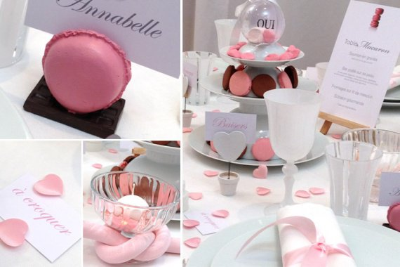 Mariage macaron deco de salle melochoco photos for Centre de table gourmandise