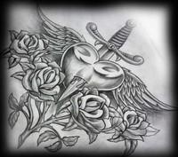 À cur percé sur les rosiers. Les ailes au cœur.