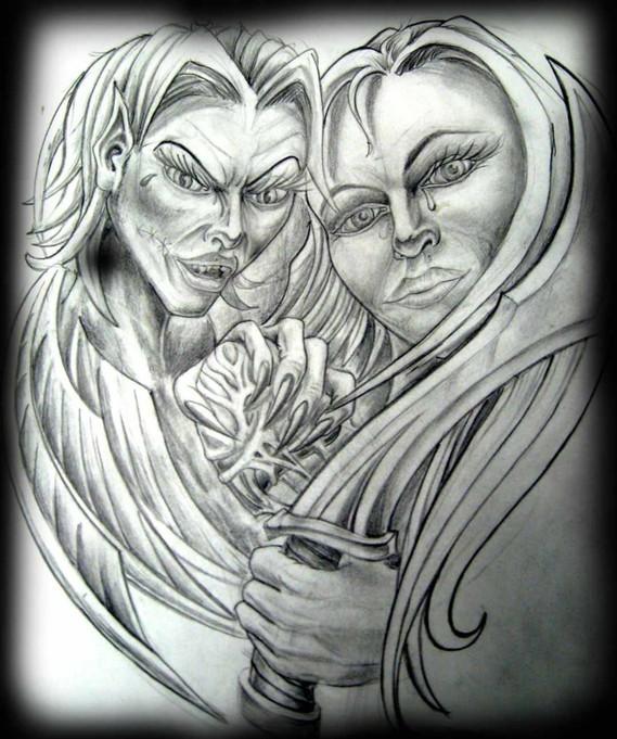 photo-dessin-amour-haine-coeur-épée-crayon-plomb-papier