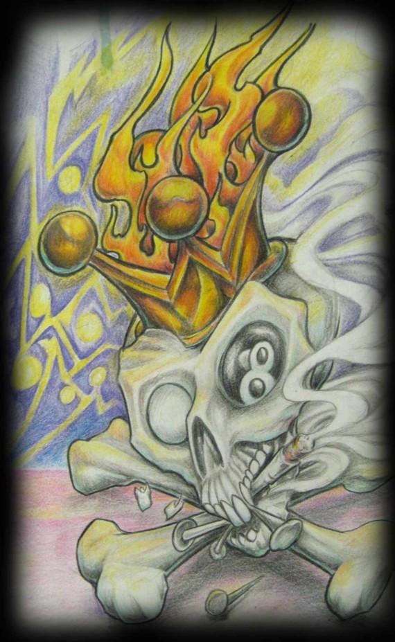 La folie monarchique, La couronne en feu et L'œil noir. Crane couronné en feu.