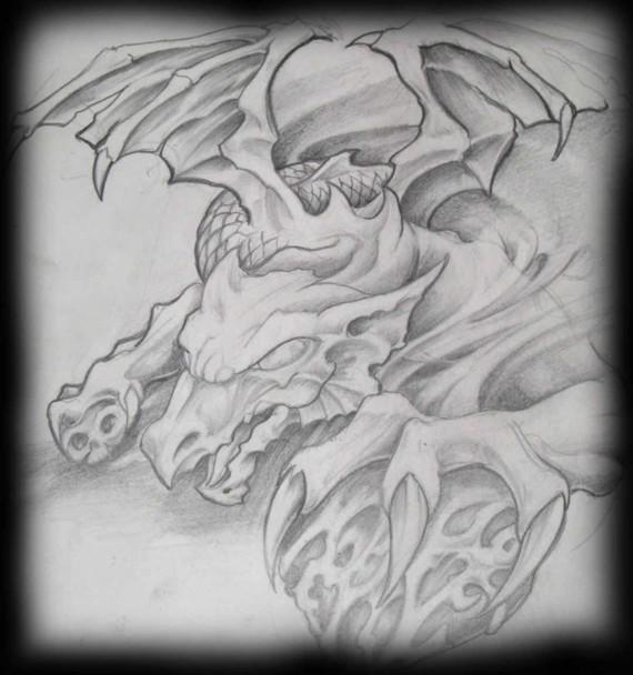 Dragon chirurgien, La mort à la main. Dragon ailé Tatouage Calypso Québec Tattoo Shop
