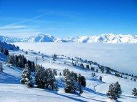 mountain landscape in snow.
