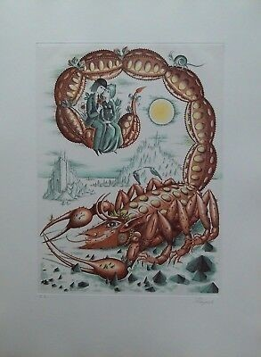 Raymond-Peynet-Gravure-Signee-Zodiaque-Scorpion-Epreuve-Dartiste