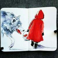 Little-Red-Riding-Hood-And-Wolf-Watercolor-Painting