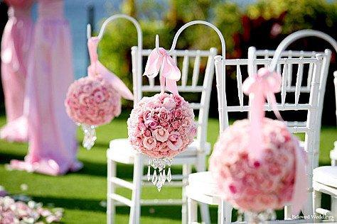 boule fleur rose ceremonie - Piquet Porte Lanterne Mariage