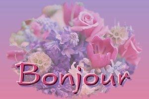 Bonjour bouquet de fleurs en trans