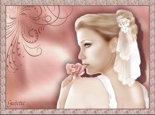 Mariée et rose