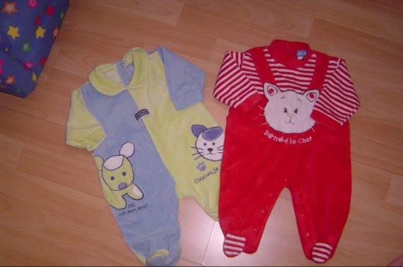 pyjama 3 mois velours 2 euros pièce