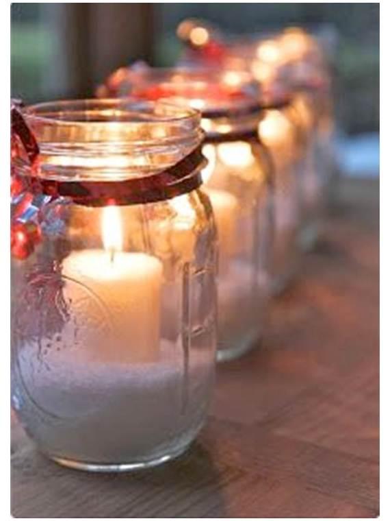 Pot confiture ruban cadeau sel des photophores magiques deco fa - Photophore fait maison ...