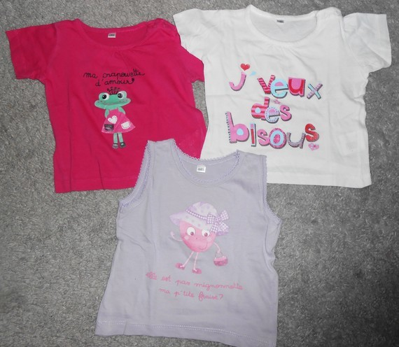 3 tee-shirts 12 mois Fille 2€