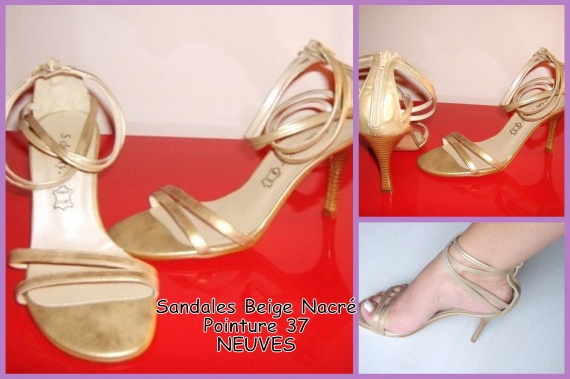 Sandales 37 beige nacré Neuf