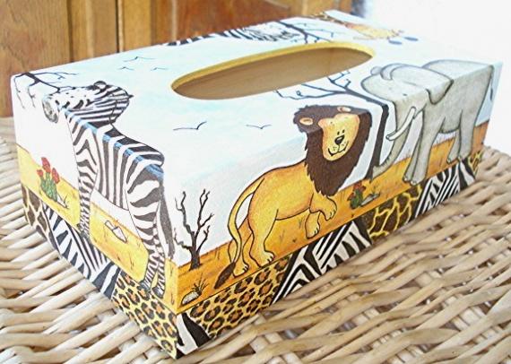 boite à mouchoirs animaux de la savane