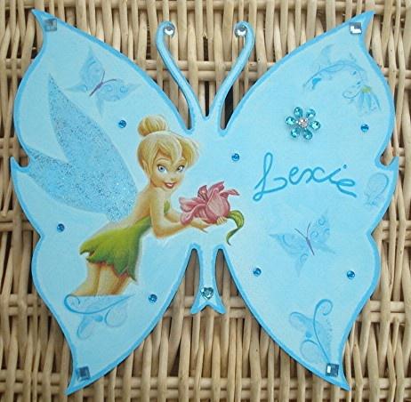 Plaque de porte papillon fée clochette
