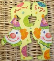 Plaque de porte bisou d'enfants clown