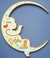 plaque de porte bébé lune bambi et panpan