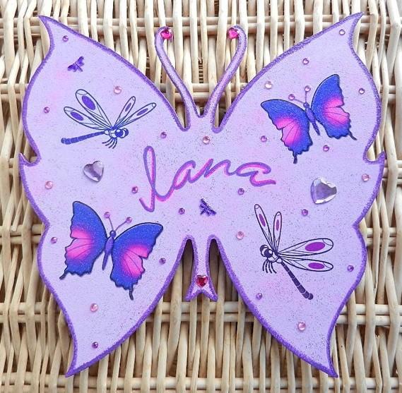 plaque de porte papillon avec libellules et papillons