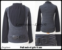 6A Pull noir et gris 3,50 €