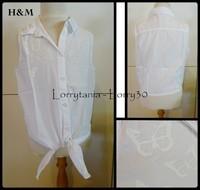 10A Chemise H&M 3 € SM blanche papillon