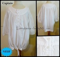 10A Blouse CAPTAIN 12 € NEUF blanche M3/4