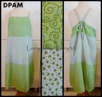 10A Robe longue DPAM 5 € verte et blanche à fleurs
