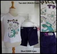 6-8A Tee shirt OKAOU short violet KIABI 2,50€