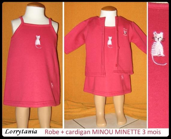 3m Robe + cardigan MINOU MINETTE 2,50 € rose