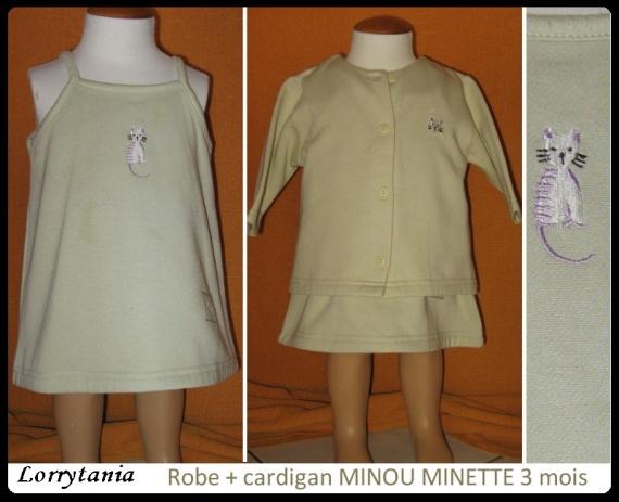 3A Robe + cardigan MINOU MINETTE 2,50 € vert