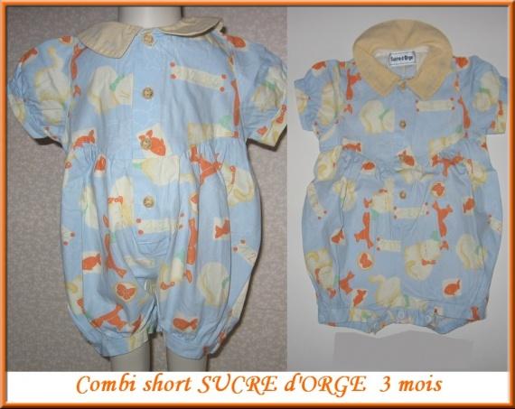 Combi short SUCRE D'ORGE 3 €