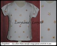4A Tee shirt blanc DPAM 2,50 €  motif rouge jaune